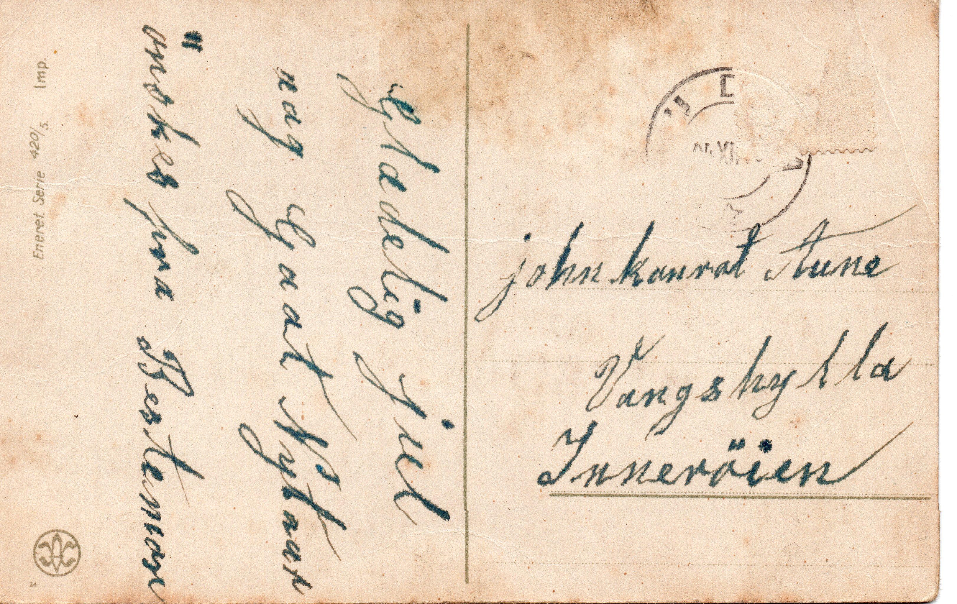 Julekort fra mormor Marit Krogstad i Meråker, til John, bror til Nils fra først på 1920 tallet. Hun døde i 1927.
